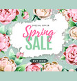 spring sale poster with full blossom pion flowers vector image vector image