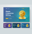 template header with gold piles of coins ripple vector image