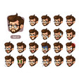 the second set of bearded hipster facial emotions vector image vector image