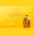 travel concept with suitcase sunglasses hat and vector image
