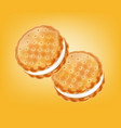 vanilla cream cookies realistic product vector image vector image