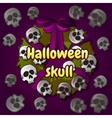 Wreath of skulls Halloween decoration on the door vector image