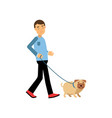 young man walking with his dog colorful cartoon vector image