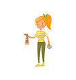 young woman in casual clothing wiping off dust vector image vector image