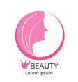 abstract logo woman face design head hair for vector image
