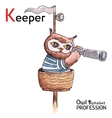Alphabet professions Owl Letter K - Keeper vector image