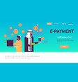 arabic men using global payment application money vector image