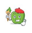 artist green apple character cartoon