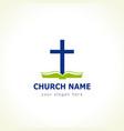 bible cross church logo vector image