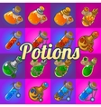 Big set of different magic bottles with potion vector image vector image