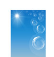 blue sky with shining sun flying soap bubbles vector image