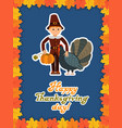 boy turkey pumpkin happy thanksgiving day card vector image vector image