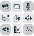 business management icons set with effective vector image vector image