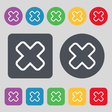 Cancel icon sign A set of 12 colored buttons Flat vector image