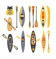 Canoe Sport Equipment Set vector image vector image