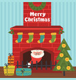 christmas card with santa claus inside fireplace vector image