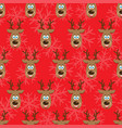 christmas seamless pattern with deers vector image