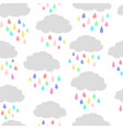 clouds and colorful raindrops vector image vector image