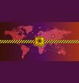 corona warning sign on world map vector image vector image