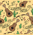 country music seamless pattern with guitars vector image