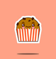 cute kawaii cupcake funny emoticon face icon vector image