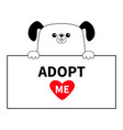 dog head face hanging on paper board adopt me vector image vector image