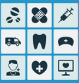 drug icons set collection of claw bandage cap vector image vector image