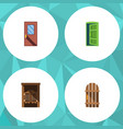 flat icon approach set of door frame wooden vector image vector image