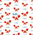 funny red crabs and waves seamless pattern vector image vector image