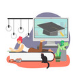 girl student reading book at home studying online vector image vector image