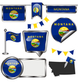 Glossy icons with Montanan flag vector image vector image