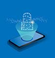 glowing padlock on screen smart phone vector image vector image