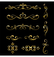 Gold decorative elements and ornaments vector image vector image