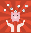hand holding piggy bank vector image vector image