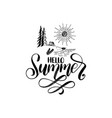 hand lettering hello summer forest lake vector image vector image