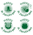 happy st patricks day green icons set vector image vector image