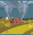 image of a hurricane destroying the village vector image