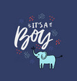 its a boy lettering hand drawn vector image