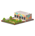 low poly kindergarten building vector image