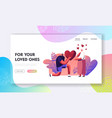 man making proposal to woman website landing page vector image vector image