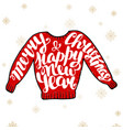 merry christmas and happy new year in red sweater vector image vector image
