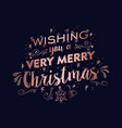 merry christmas copper text quote greeting card vector image vector image