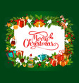 merry christmas tree gifts greetings vector image