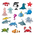 Ocean or sea cartoon isolated characters vector image