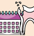 oral hygiene broken tooth and calendar vector image