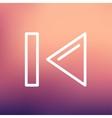 Previous button thin line icon vector image vector image
