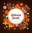 realistic caramel frame composition vector image vector image