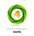 realistic number four logo in the colorful circle vector image vector image
