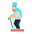 reduced height aging symptom concept vector image vector image