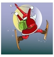 Santa Claus hurries with gifts on the magic skis vector image vector image